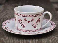 chalupka / Maľovaná šálka na kávu s podšálkou (220 ml): Vtáčik folk
