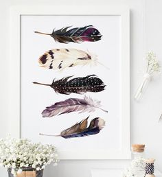 INSTANT DOWNLOAD: watercolor feathers for bohemian wall decor ***Get free…