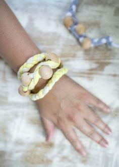 DIY T-shirt Bracelet   http://hellonatural.co/diy-jewelry-braided-t-shirt-bracelet/