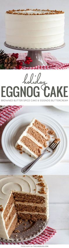 Eggnog Cake! A browned butter spice cake with eggnog buttercream, perfect for holiday parties and Christmas dessert | by Tessa Huff for TheCakeBlog.com