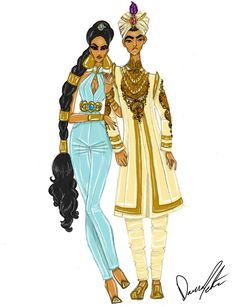 / disney royals, jasmine and aladdin by daren j