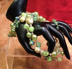 Vintage 1960's Vendome Demi Green and Gold Crystal & Art Bead  Double Strand Necklace and Bracelet by CrowsNestAntiques on Etsy