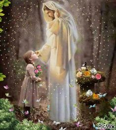 Jesus adoring little girl in garden, prophetic art. Pictures Of Jesus Christ, Religious Pictures, Christian Images, Christian Art, Jesus Art, God Jesus, Blessed Virgin Mary, Blessed Mother Mary, Image Jesus