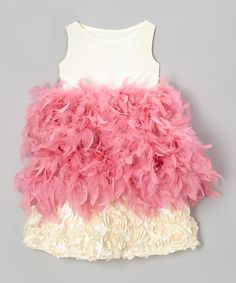 Cream & Pink Hydrangea Feather Dress - Toddler