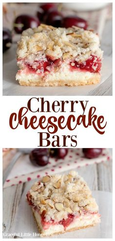 If you love cherry pie and cheesecake, then you are going to love these delicious Cherry Cheesecake Bars. They make a great dessert to serve at parties. Great Desserts, Köstliche Desserts, Delicious Desserts, Dessert Recipes, Bar Recipes, Fruit Deserts Recipes, Plated Desserts, Drink Recipes, Breakfast Recipes