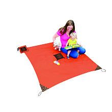 Monkey Mat - Portable 5'x5' Multi-Purpose Mat in Attached Ultra Compact Pouch (Orange)