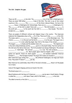 The USA worksheet - Free ESL printable worksheets made by teachers Free Reading Comprehension Worksheets, 2nd Grade Reading Worksheets, Writing Comprehension, Math Practice Worksheets, Social Studies Worksheets, Grammar Worksheets, 7th Grade Reading, Text Evidence, Printable Worksheets