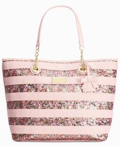 60a7e76b94 Betsey Johnson Macy s Exclusive Stripe Sequin Tote - Handbags   Accessories  - Macy s - ladies leather wallet with coin purse