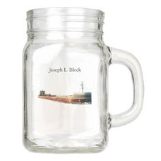 Joseph L. Block mason jar  $14.95  by CaptJoeyDesigns  - cyo customize personalize unique diy idea