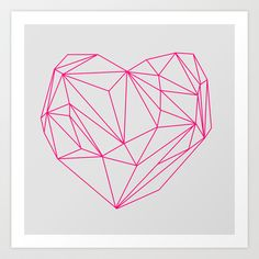 Heart Graphic Neon Version Art Print by Mareike Böhmer Graphics - $20.00