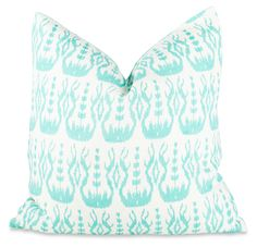 """Chedi Seaglass Throw Pillow, 20""""sq, hand-block printed with hand-stitched and embroidered details, hidden zip closure, 55% linen/45% cotton, down insert included, $172"""