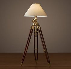 Royal Marine Tripod Floor Lamp - Antique Brass and Brown
