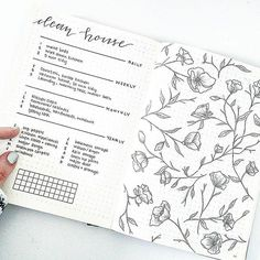 I love this peaceful, beautiful #housecleaning spread from @bonjournal_ id like to color in those flowers wouldnt you? #Repost @bonjournal_ ・・・ Keeping clean this year with a handy cleaning guide. @estherclarkco inspired flowers   #bulletjournalc