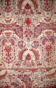 "Indian export c. from Cora Ginsburg .one of my very favorite textiles ""I think this is likely inspiration for country French toile fabrics. Textile Texture, Textile Prints, Textile Patterns, Textile Design, Fabric Design, Print Patterns, Indian Fabric, Indian Textiles, Vintage Textiles"