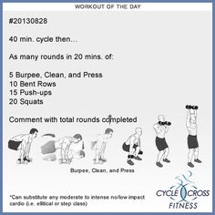 Workout of the Day:  28 Aug 2013  #20130828  40 min. cycle then…  As many rounds in 20 mins. of:  5 Burpee, Clean, and Press 10 Bent Rows 15 Push-ups 20 Squats  Comment with total rounds completed