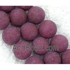 round matte jade beads, purple dia, per st Jade Beads, Purple, Viola