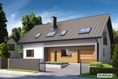 Projekt domu ECONOMIC (wersja A) - wizualizacja frontowa External Cladding, Good House, Home Projects, House Plans, Garage Doors, Shed, Stairs, Outdoor Structures, How To Plan