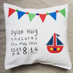 Personalised New Born Baby Boy Cushion