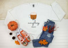 Pumpkin Spice And Everything Nice Sweatshirt Cute Fall | Etsy Orange Sweaters, Fall Sweaters, Christmas Sweaters, Fall Gifts, Thanksgiving Outfit, Sweater Weather, Pumpkin Spice, I Shop, Graphic Sweatshirt