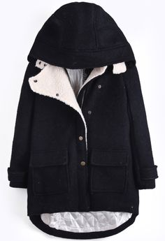 Black Hooded Long Sleeve Pockets Dipped Hem Coat - Sheinside.com
