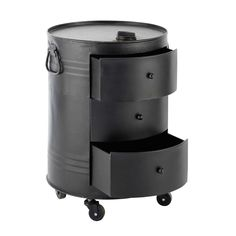 Bout de canapé bidon en métal noir L 42 cm CLARK | Maisons du Monde