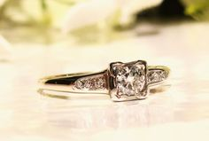 Art Deco Engagement Ring Transitional Cut 0.30ctw Diamond Wedding Ring 14K Two Tone Gold Antique Engagement Ring Size 6.5!