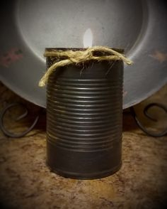 Primitive  Black Can Candle  Scented    by DebsCandlesandDreams