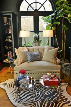 Design by Boxwood Interiors, Houston. Farrow & Ball Black Blue