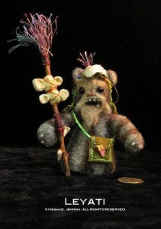 """This is the medicine man Ewok I made for the group show, """"Stitch Wars Strikes Back!""""  Please go to my blog for more images and my process: http://megillustrations.typepad.com/beetlegrass/stitch-wars-strikes-back/"""