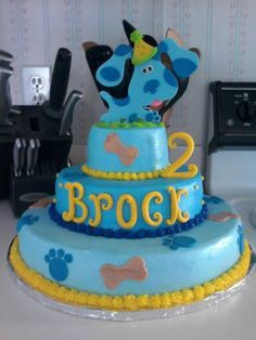 Blues Clues Cake 3rd Birthday Parties, 2nd Birthday, Birthday Ideas, Happy Birthday, Cupcake Frosting, Cupcake Cakes, Cupcakes, Dog Treats, Sweet Treats