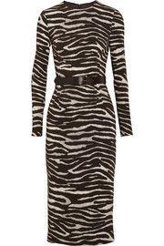 Michael KorsBelted zebra-print stretch-crepe dress