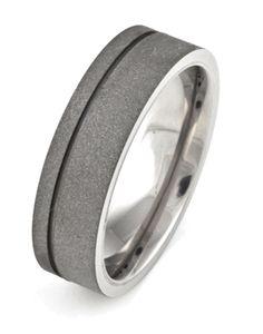 Men's Titanium Sandblasted Ring with Offset Groove