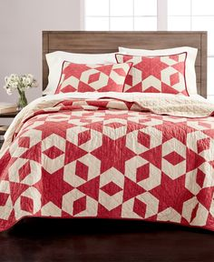 Martha Stewart Collection Geometric Stars Full/Queen Quilt, Created for Macy's - Red Geometric Star, Quilted Bedspreads, Twin Quilt, Patchwork Designs, Queen Quilt, Star Quilts, Mattress Brands, Space Furniture, Baby Boy Newborn