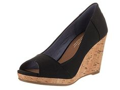 Toms Women's Stella Wedge Black Canvas Casual Shoe 8.5 Women US... Take your look to the next level with TOMS wedges with the brand's signature logo and finished with a flirty open toe. Standing atop a lofty cork wedge, they're perfect for work, lunch with friends, or going out on the town..Open toe pumpCork heel, wedge printedCanvas, textile......http://bit.ly/2kPL9Kn