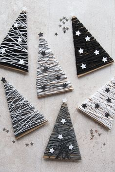 DIY fir-tree decoration for Christmas in black and white. The stylish Christmas decoration for you o