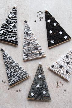 DIY Tannenbaum Dekoration für Weihnachten in schwarz weiss. Die Stilvolle Weihnachtsdeko für Euch oder einfach zum verschenken.