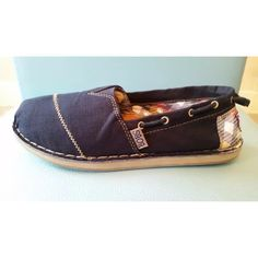 Bobs by Sketchers. Navy canvas espadrille w/plaid patch on back. Wore 1x-not my style, but maybe yours!? Bobs by Sketchers Shoes