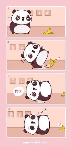 Panda slip on Banana peel Panda Love, Red Panda, Panda Wallpapers, Cute Wallpapers, Cartoon Panda, Cute Cartoon, Amor Panda, Panda Kawaii, Cute Panda Wallpaper