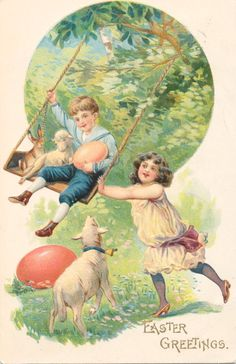 Easter - Girl Pushes her Brother, Lamb, & Rabbit on Swing