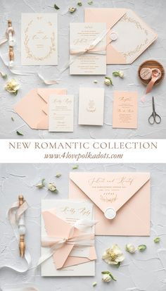 Peach calligraphy wedding invitations with touch of silk ribbon - most romantic designs from our latest wedding collection. Subtle and delicate. Handmade with love and care just for you! #wedding #ideas