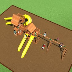 The Safari Wooden Swing Set is colossal, enormous, stupendous! It has two towers, one with a clubhouse below, the other with a full picnic table underneath.
