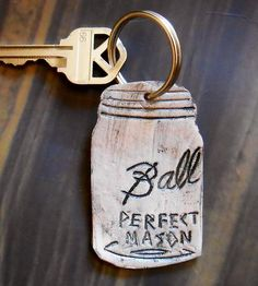 Mason Jar Leather Keychain