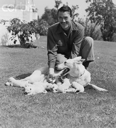 Gregory Peck with his dog Slip, a white German Shepherd Dog and her puppies