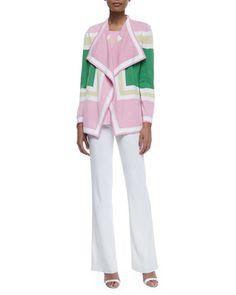 LONG TANK - $158.00 Colorblock Draped Cardigan, Sleeveless Long Tank & Boot-Cut Knit Pants by Misook at Neiman Marcus.