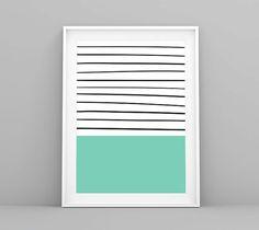 Laminas, Laminas Decorativas, Menta Deco, Rayas Marineras, Minimal Deco, Mint Green Deco, Nordic Print, Summer Deco, Mint Green Prints