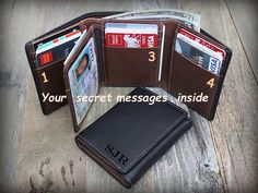 Gift Ideas Fathers Day - Trifold Mens Wallet - Personalized Mens Wallet - Men's Wallet - Gift for Dad - Leather Mens Wallet - Blk/Tof - 7133