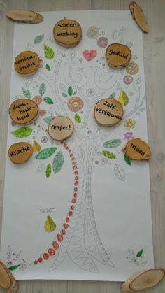 Krachtboom; deugdenyoga, kinderyoga, deugd kracht
