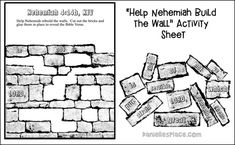Bible Crafts, Bible Games, and Activities About Nehemiah Bible Study For Kids, Bible Lessons For Kids, Sunday School Lessons, Sunday School Crafts, Jerusalem Bible, Toddler Bible, School Coloring Pages, Bible Knowledge, Bible Activities