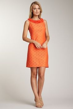 A great wedding season dress. In tangerine, no less!