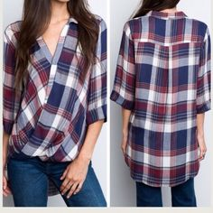 •plaid draped front top• Top features hi Lo cut and draped front. Roll up sleeves with button. Material is 100% rayon.  Small fits 4-6, medium8-10, large 12-14. Price firm unless bundled. Tops Blouses
